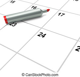 em branco, calendário, mostra, nomeação, programa, ou,...