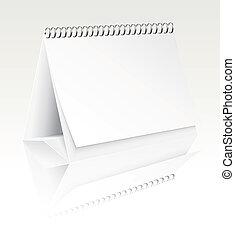 em branco, calendário, vetorial, escrivaninha