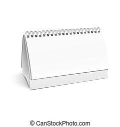 em branco, calendar., papel, espiral, escrivaninha