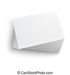 em branco, card., negócio, pilha
