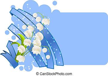 em branco, cartão, com, flores