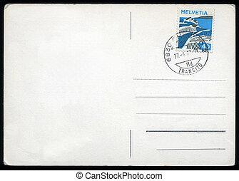 em branco, cartão postal, com, selo, e, relógio porte