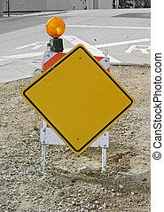 em branco, cavalo, construção, sinal amarelo