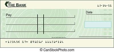 em branco, cheque, ilustração