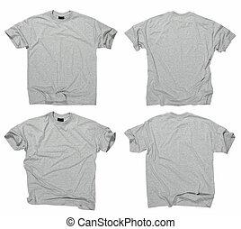 em branco, cinzento, camisetas