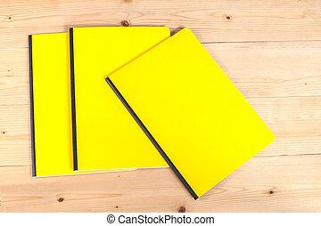 em branco, cobertura, livro, ligado, madeira
