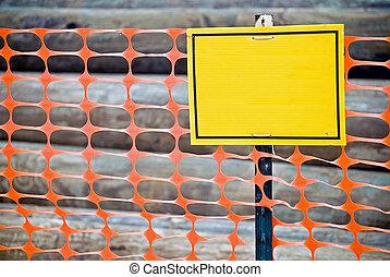 em branco, construção, amarela, cerca, sinal