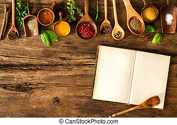 em branco, cookbook, e, temperos