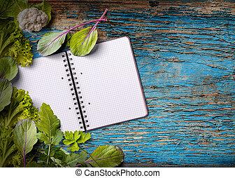 em branco, cookbook, para, espaço cópia