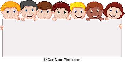 em branco, crianças, caricatura, sinal
