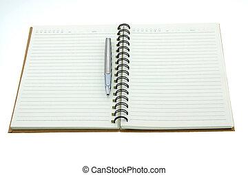 em branco, diário, isolado, ligado, um, fundo branco