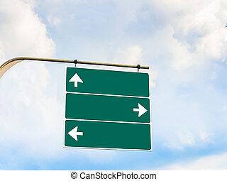 em branco, direção, signboard, para, espaço cópia