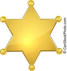 em branco, dourado, xerife, estrela