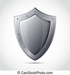 em branco, escudo, negócio, proteção, emblema