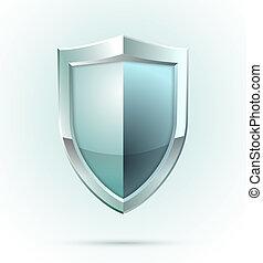 em branco, escudo, segurança, ícone
