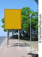 em branco, espaço cópia, sinal amarelo