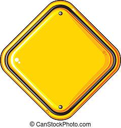 em branco, estrada amarela, sinal