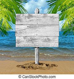 em branco, férias praia, sinal