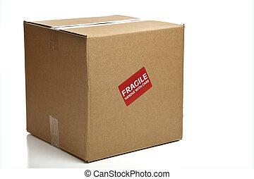 em branco, fechado, caixa papelão, com, um, frágil, adesivo