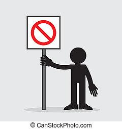 em branco, figura, segurando, sinal