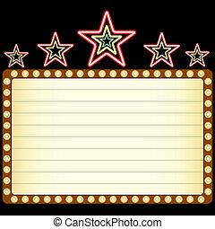 em branco, filme, teatro, ou, cassino, marquee, com, néon, estrelas, acima