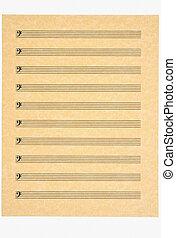 em branco, folha música, 4, clef baixo