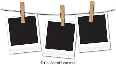 em branco, fotografias, pendurar, corda