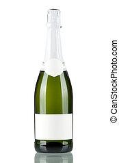 em branco, garrafa champanha, etiqueta