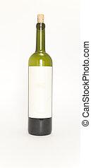 em branco, garrafa vinho, etiqueta