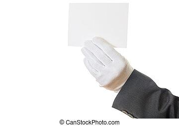 em branco, gloved, cartão, segurando mão
