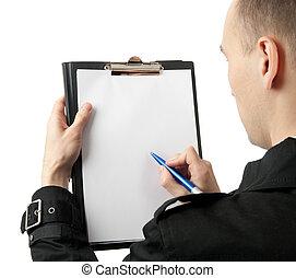 em branco, homem negócios, papel, escrita