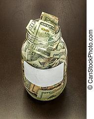 em branco, jarro, dinheiro, etiqueta