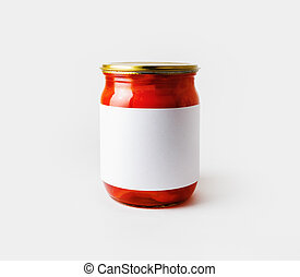 em branco, jarro, etiqueta