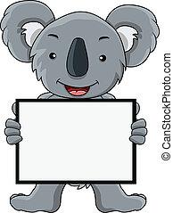 em branco, koala, caricatura, sinal