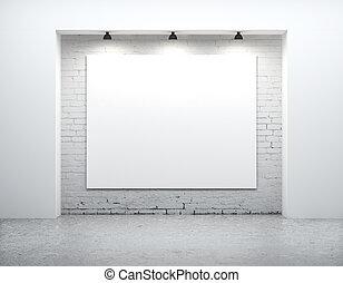 em branco, ligado, parede