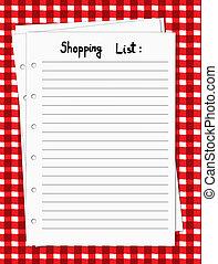 em branco, lista fazendo compras