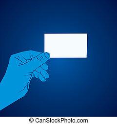 em branco, mão cartão