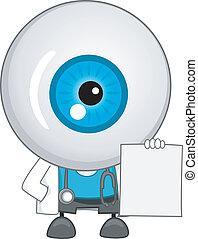 em branco, mascote, globo ocular, prescrição, doutor