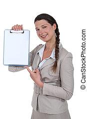 em branco, mulher aponta, clipe-junta