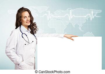 em branco, mulher, bandeira, doutor jovem