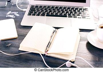 em branco, notepad, closeup
