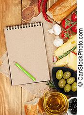 em branco, notepad, para, espaço cópia, e, alimento