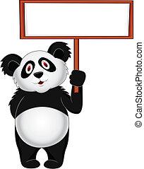 em branco, panda, sinal