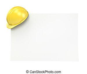 em branco, papel, com, amarela, capacete