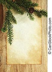 em branco, papel, com, decorações natal