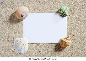 em branco, papel, espaço cópia, verão, areia praia, férias