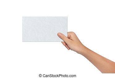 em branco, papel, segurando, mão feminina