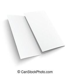 em branco, papel, trifold, brochure.