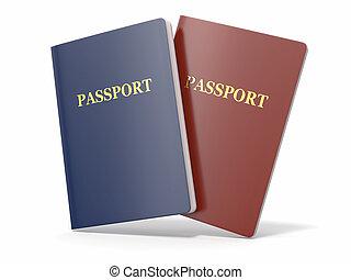 em branco, passaporte, branco, isolado, experiência., 3d