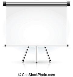 em branco, portátil, tela projeção